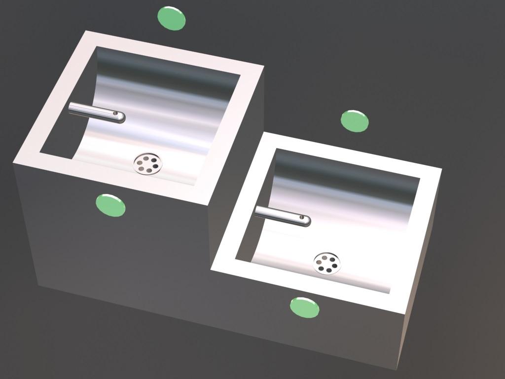 Senzorske slavine za skole i obdaništa kvadratne u dva nivoa